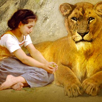 Criança e animal interiores