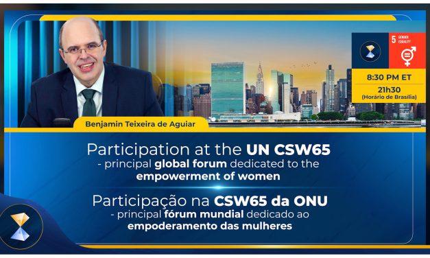Incrível sucesso da conferência do orientador espiritual Benjamin Teixeira de Aguiar na CSW65 da ONU