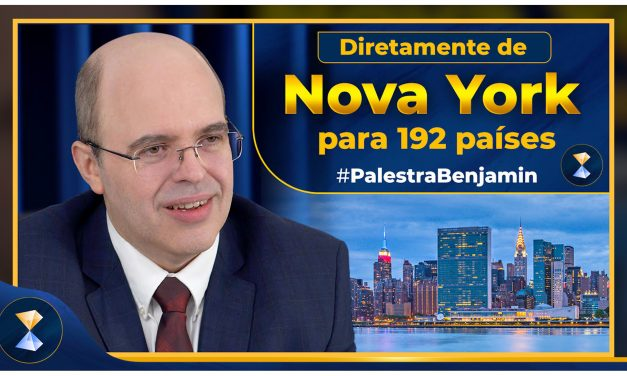 De Nova York para o mundo, primeira transmissão ao vivo da palestra de Benjamin