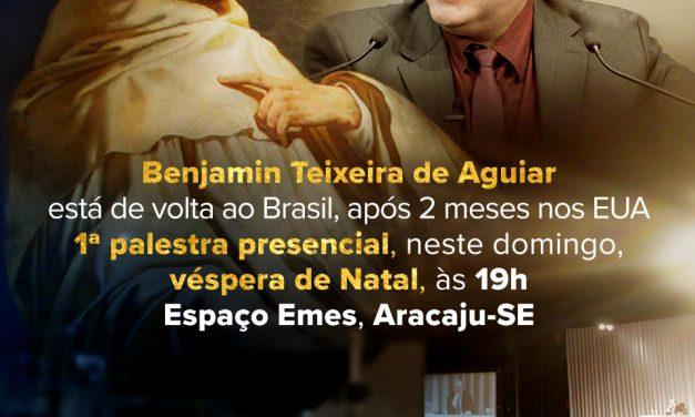 1ª palestra pública do líder espiritual Benjamin Teixeira de Aguiar, depois de seu retorno dos Estados Unidos