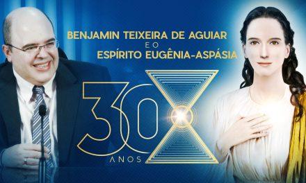A chegada emocionante de Benjamin Teixeira de Aguiar no evento de celebração dos 30 anos de sua atividade mediúnica com a Mestra Espiritual Eugênia-Aspásia, em 15 de abril de 2018
